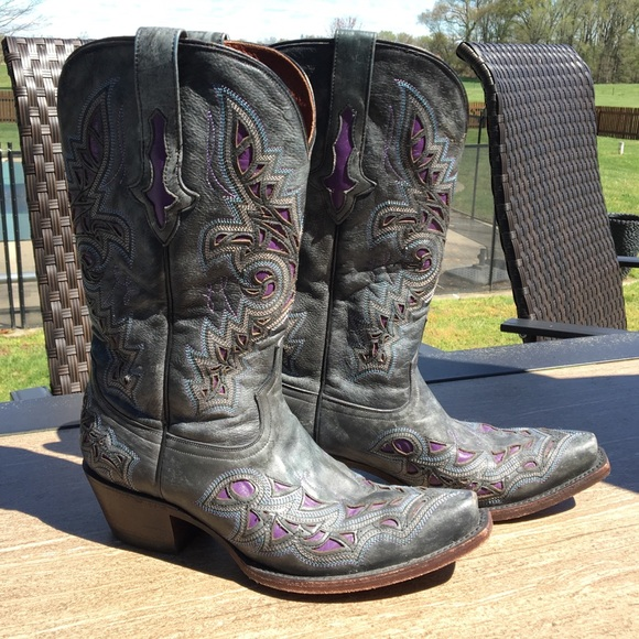 67d8b944b51 Classic Lucchese cowgirl boots grey purple